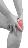 Acute pain in a man  knee. Male holding hand to spot of knee-ach Royalty Free Stock Photos