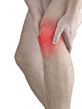 Acute pain in a man  knee. Male holding hand to spot of knee-ach Royalty Free Stock Image