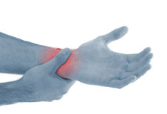 Acute pain in a man palm. Royalty Free Stock Photos