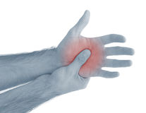 Acute pain in a man palm. Royalty Free Stock Images