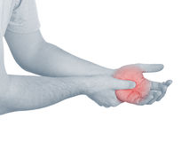 Acute pain in a man palm Stock Image