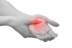 Acute pain in a man palm. Stock Photos