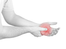 Acute pain in a man palm Stock Photos