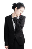 Acute pain and sore throat symptom in a businesswoman isolated on white background. Clipping path on white background. Stock Photos