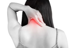 Acute pain and sore throat symptom in a woman isolated on white background. Clipping path on white background. Stock Photo