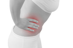 Acute pain in a woman abdomen Stock Photos