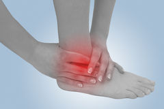Acute pain in a woman ankle Royalty Free Stock Image