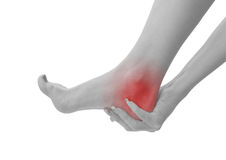 Acute pain in a woman ankle Royalty Free Stock Photography