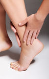 Acute pain in a woman ankle. Royalty Free Stock Photography