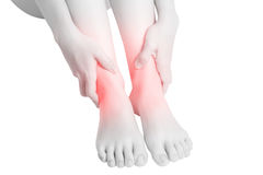 Acute pain in a woman  ankle isolated on white background. Clipping path on white background. Stock Photos