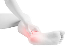 Acute pain in a woman  ankle isolated on white background. Clipping path on white background. Stock Photo