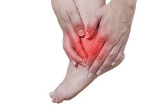 Acute pain in a woman ankle Royalty Free Stock Photos