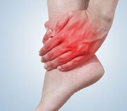 Acute pain in a woman ankle Stock Photos