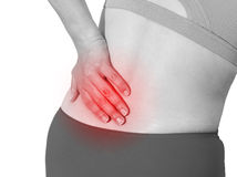Acute pain in a woman back Stock Photography