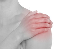 Acute pain in a woman back.  Royalty Free Stock Photos