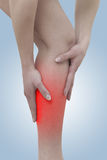 Acute pain in a woman calf Royalty Free Stock Photo