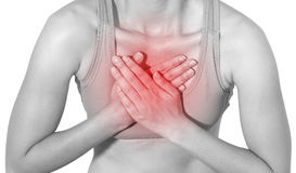 Acute pain in a woman chest Stock Photography