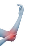Acute pain in a woman elbow Royalty Free Stock Images