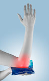 Acute pain in a woman elbow. Stock Photos