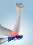 Acute pain in a woman elbow. Royalty Free Stock Photo