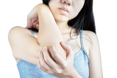Acute pain in a woman elbow isolated on white background. Clipping path on white background. Royalty Free Stock Images