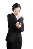 Acute pain in a woman elbow isolated on white background. Clipping path on white background. Royalty Free Stock Photography
