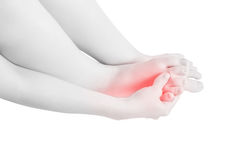 Acute pain in a woman feet isolated on white background. Clipping path on white background. Stock Images