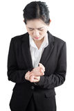 Acute pain in a woman finger isolated on white background. Clipping path on white background. Stock Photography