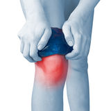 Acute pain in a woman knee. Royalty Free Stock Photo