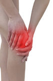 Acute pain in a woman knee Stock Photos