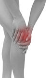 Acute pain in a woman  knee. Female holding hand to spot of knee Royalty Free Stock Photos
