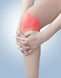 Acute pain in a woman knee. Stock Photography