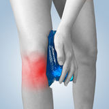 Acute pain in a woman knee. Royalty Free Stock Image