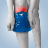 Acute pain in a woman knee. Stock Photos