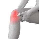 Acute pain in a woman knee. Acute pain in a knee. Woman holding hand to spot of knee-aches Stock Photos
