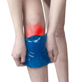 Acute pain in a woman knee. Royalty Free Stock Images