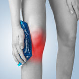 Acute pain in a woman knee. Stock Photo