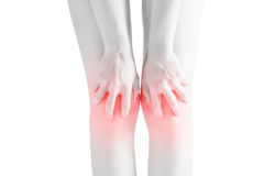 Acute pain in a woman knee isolated on white background. Clipping path on white background. royalty free stock images