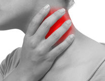 Acute pain in a woman neck Royalty Free Stock Image
