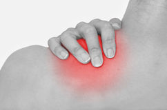Acute pain in a woman neck Stock Photography