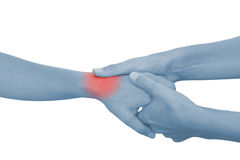 Acute pain in a woman palm Stock Image