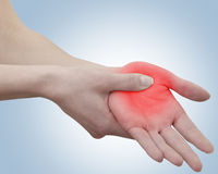 Acute pain in a woman palm Royalty Free Stock Image