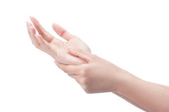 Acute pain in a woman palm. Royalty Free Stock Photography