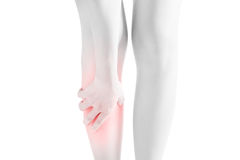 Acute pain in a woman shin isolated on white background. Clipping path on white background. Stock Image
