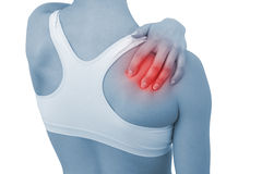Acute pain in a woman shoulder Stock Photography