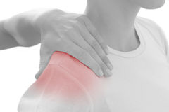 Acute pain in a woman shoulder.  Royalty Free Stock Photos