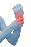 Acute pain in a woman wrist Stock Photo
