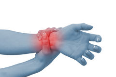 Acute pain in a woman wrist Royalty Free Stock Images