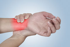 Acute pain in a woman Wrist. Royalty Free Stock Photography