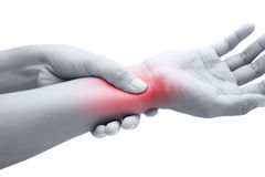 Acute pain in a women wrist Royalty Free Stock Images